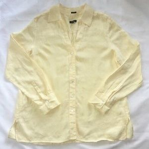 Talbots Irish Linen Yellow Button Shirt Blouse